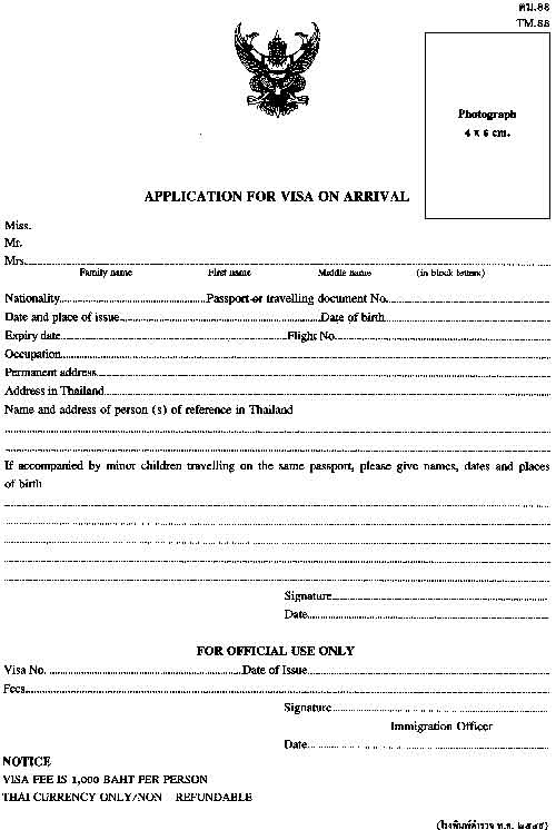泰国落地签申请表