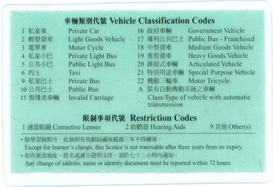 香港驾照样本背面